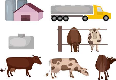 milk farm Illustration