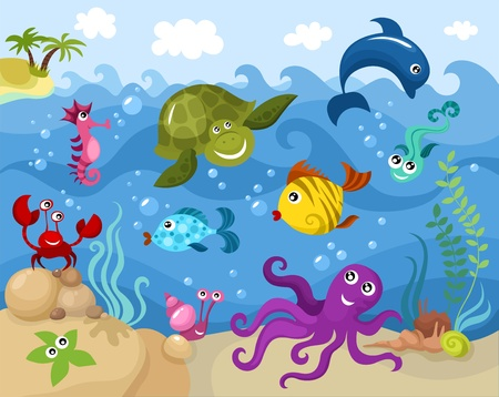 marine life: sea life Illustration