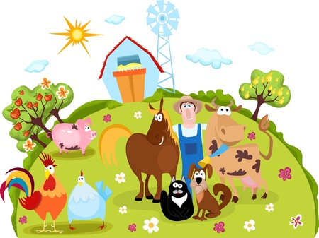 farm animals and farmer Vector