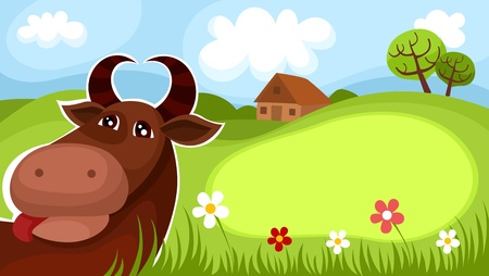 cows grazing: farm card