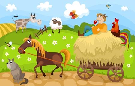 vaca caricatura: granja Vectores