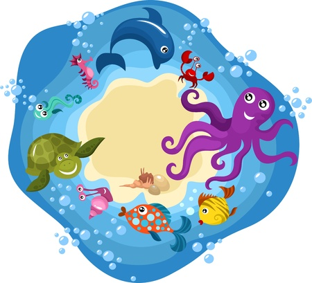 sea life card Vector