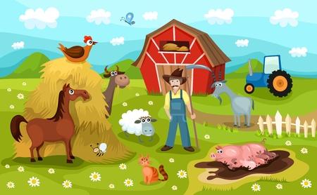 animal cock: granja Vectores