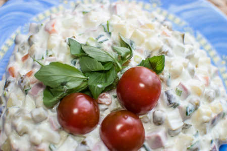 Taysty Russian salad with three tomatoes Stok Fotoğraf