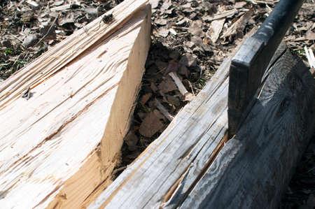 thrust: the axe thrust in log Stock Photo