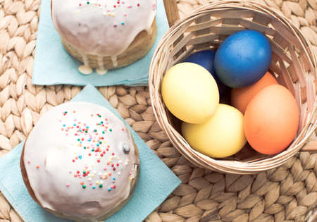 Easter cakes and eggs for holiady