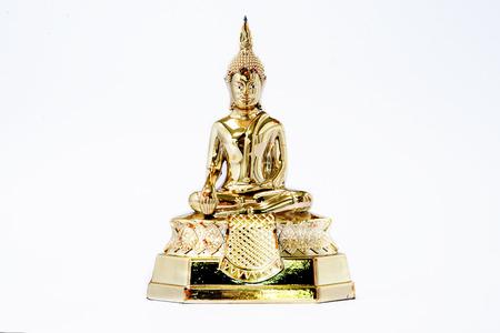 Sitting Buddha Statue Isolated on a White Background. Stock Photo