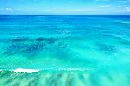 blue ocean and blue sky horizon background