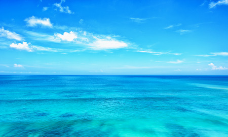 blue ocean and blue sky horizon background