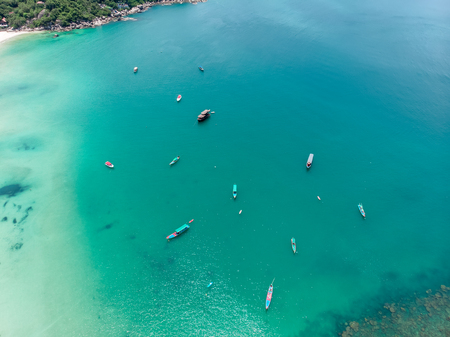 Aerial view of a Beautiful Bay with fishing boats in Thailand Stock Photo