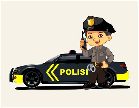 an Indonesian police car patrol and and a cartoon police character who shows a smiley expression and is ready to serve Ilustración de vector