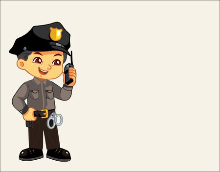 a male police character who shows a smiling face and is ready on duty