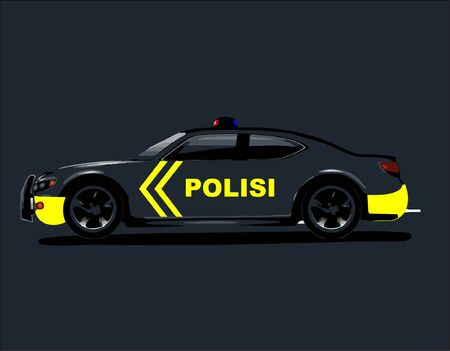 an Indonesian police car patrol and and a cartoon police character who shows a smiley expression and is ready to serve
