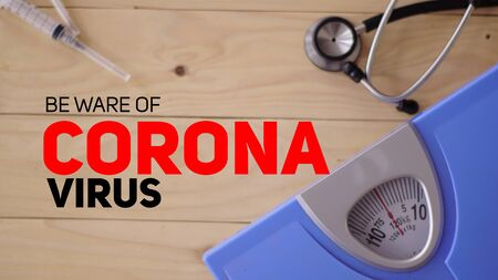 the call to be aware of the corona virus seen in the picture contained a syringe stethoscope and capsule medicine