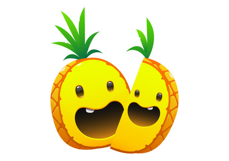 pineapple delicious juicy bright cartoon happy two smile face Illustration