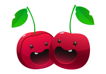 Bright juicy delicious cherry cartoon two happe face