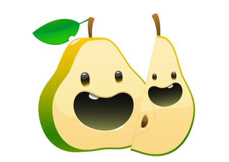 bright juicy tasty green pear cartoon two fun character