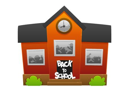 Welcome back to school. Cheerful red cartoon school with happy children