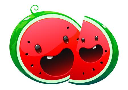 watermelon delicious juicy bright cartoon two face happy