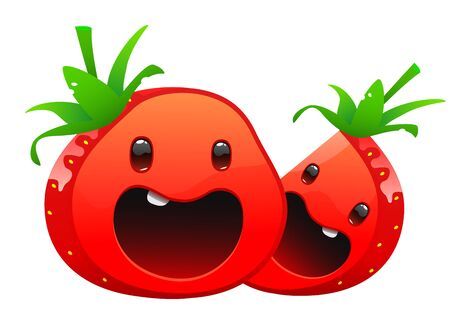 glower: strawberry delicious juicy bright cartoon two happy face