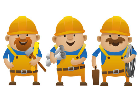 big smile: construction workers stand by holding the paper work and tools with a thumbs-up and a big smile Illustration