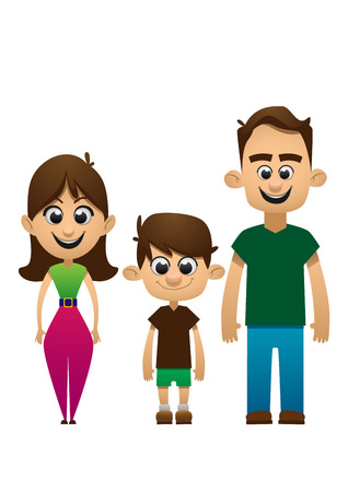 adoptive: Happy family vector people  daughter smile love