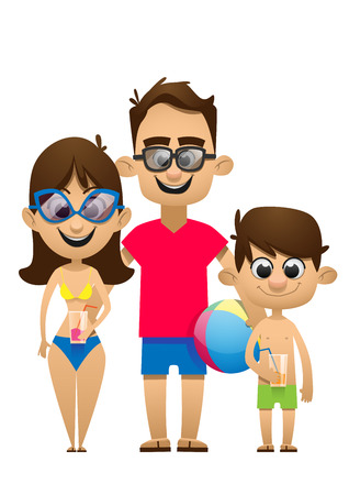 girls having fun: A vector illustration of a happy family going to the beach for vacation Illustration