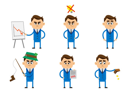 banging: Character of businessman in failure concept, sitting alone in depression, get fired, no money, bankruptcy, banging head against wall, holding bills. Simple character with flat design.