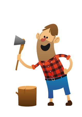 illustration cheerful woodsman with an ax and a log