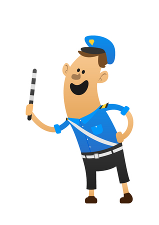 robber: Good cheerful policeman smiling and holding a baton