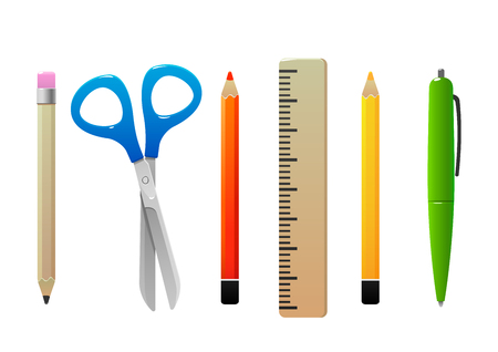 scissors pencil line pen for school isolated Illustration
