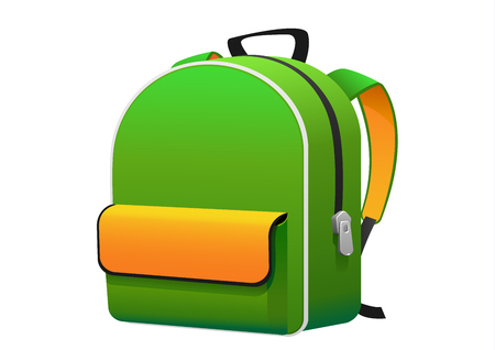 the bright green yellow backpack for school isolated