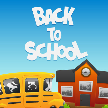 life event: Back to School bus and a building with cheerful children
