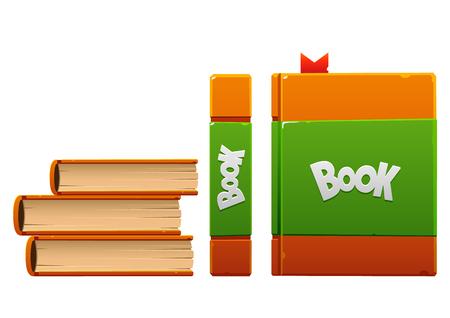marrón con el libro verde de dibujos animados tres tipos