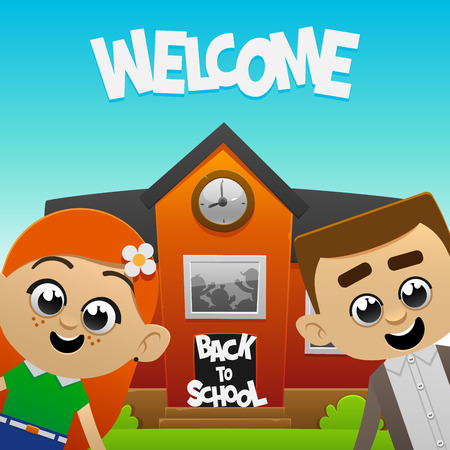 fun happy kids on the background of school. Back to school