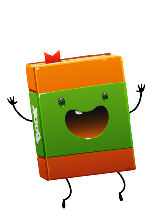 cheerful happy book brown character with green fun