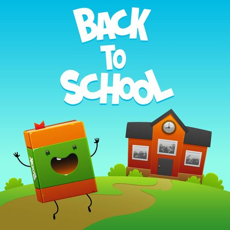 happy fun book character goes to school Illustration