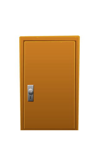 new opportunity: bright cartoon brown wooden door closed isolated