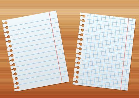 zwei Blatt Papier auf dem Hintergrund von braunem Holz Textur Vektorgrafik