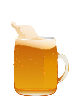 delicious mug of fresh cold beer isolated