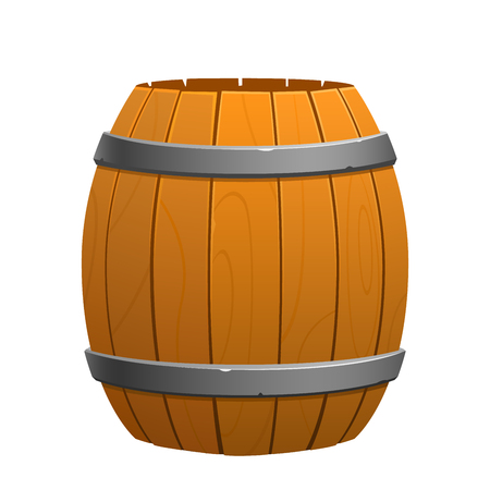 wooden brown barrel on a white background isolated