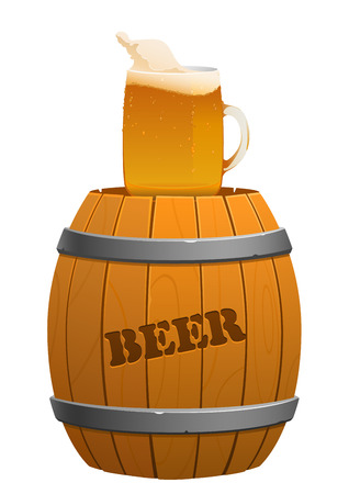 ferment: brown wooden barrel and beer mug isolated