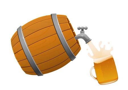 bruine houten vat en bier pul vol geïsoleerd Vector Illustratie