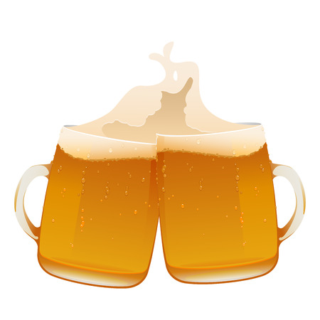 two delicious mug of fresh cold beer isolated