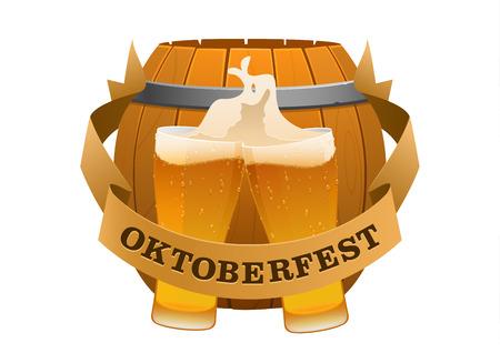 bavarian culture: Oktoberfest festival cold beer on a background of barrel isolated Illustration