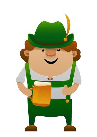 bier: Vector illustration of cartoon oktoberfest man with beer isolated