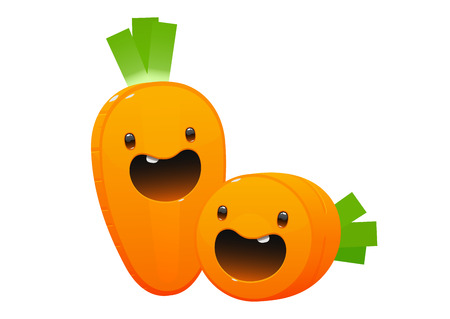 two carrot cartoon character bright juicy on a white background isolated