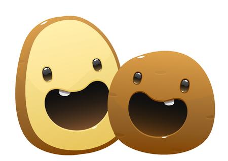 dos de patata personaje de dibujos animados jugosa brillante sobre un fondo blanco aislado Ilustración de vector