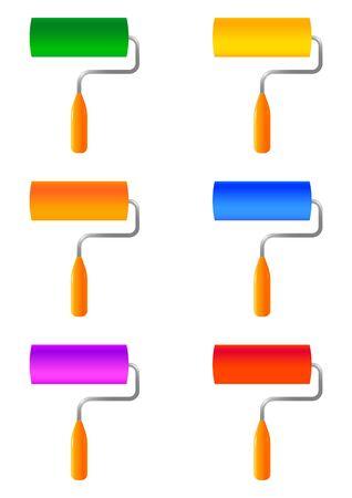 rulos: seis rodillos de pintura en blanco backgroung aislados