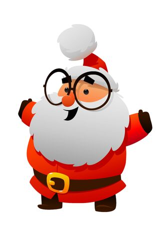 Cute Santa Claus with glasses Cartoon character isolated Illustration